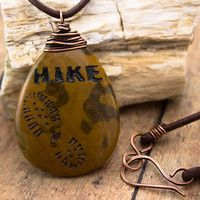 Take a hike necklace-Petrified wood stone-Engraved stone pendant