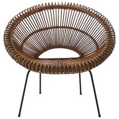 View this item and discover similar for sale at - A rattan and iron hoop chair with nicely aged original patina to rattan and black iron frame, attributed to Franco Albini, Italian, circa carefully Vintage Furniture, Cool Furniture, Modern Furniture, Modern Chairs, Modern Decor, Modern Lounge, Bucket Chairs, Contemporary Interior, Chair Design