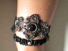 Black Bridal Wedding Garter Set, Black Lace and Satin Garter by GibsonGirlGarters #Goth #Halloween #Garter