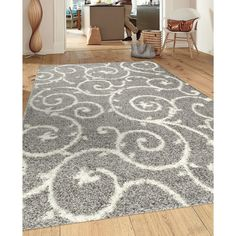 Soft Cozy Contemporary Scroll Light Grey White Indoor Shag Area Rug (7u002710 X