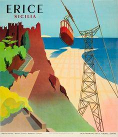 Erice Sicilia Sicily Italy 1957 - original vintage poster listed on AntikBar.co.uk
