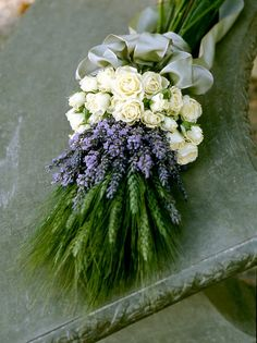 Lavender, rose and green wheat bouquet. Stunning shape, textures and colors. Elegant and yet simple. The ribbon going all the way around the base of the bouquet is beautiful.