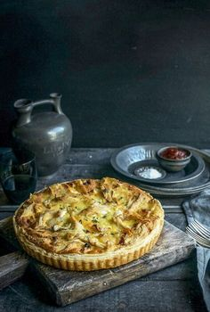 chicken, potato, brie & thyme tart with caramelised onions