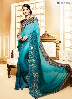 Buy Party-wear-green-color-saree from kollybollyethnics in USA UK and canada Trendy Sarees, Stylish Sarees, Indian Wedding Outfits, Indian Outfits, Beautiful Saree, Beautiful Dresses, New Saree Designs, Dress Designs, Reception Sarees