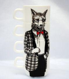 Hand painted set of 4 espresso cups - Mr Fox. $65.00, via Etsy.