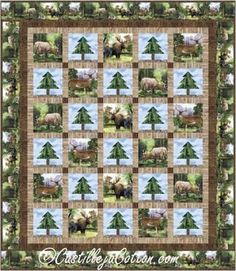 """Uses panel blocks and simple tree blocks. Pieced queen panel quilt pattern. Finished Size: Queen 80"""" x 92"""" Skill Level: Advanced Beginner Technique: Pieced Moose Quilt, Simple Tree, Panel Quilts, Queen Quilt, Fabric Panels, Elk, Quilt Patterns, Prints, Twin"""