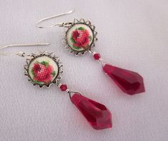 Repurposed Red Flower Petit Point Earrings with Red Crystal Drops - Vintage One of a Kind Jewelry Designs - JryenDesigns.etsy.com