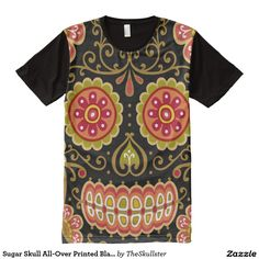 b1bf28747 Sugar Skull All-Over Printed Black Panel T-Shirt Halloween Prints, Sugar  Skull