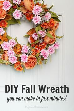 Make a Pretty DIY Fall Wreath out of a Spring Wreath - in minutes! DagmarBleasdale.com