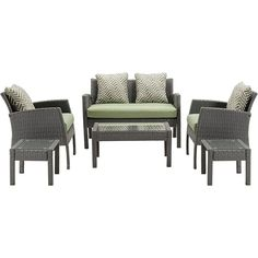 Hanover Chelsea Collection 6 Piece Patio Set  Cilantro Green