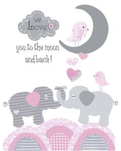 Pink gray nursery, baby elephant print, To the Moon and Back, modern Baby girl nursery, grey pink decor, personalized, kid's wall art on Etsy, £10.37