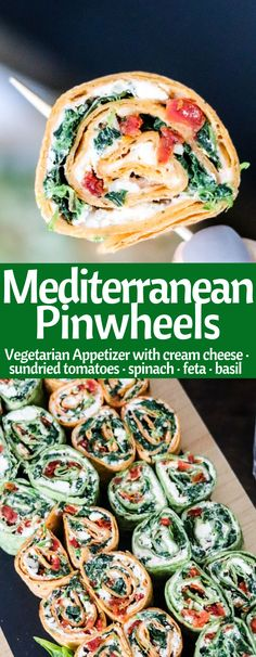 mediterranean recipes Mediterranean Pinwheels are an easy vegetarian appetizer! Stuffed with 3 cheeses, spinach, sun-dried tomatoes, and fresh basil, they are a HUGE crowd please Mediterranean Diet Recipes, Mediterranean Dishes, Mediterranean Appetizers, Meat Appetizers, Appetizer Recipes, Pinwheel Appetizers, Party Appetizers, Vegetarian Recipes Easy, Healthy Recipes
