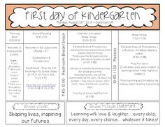 First Day of School Outline. Kindergarten classroom but can be modified for 1st grade