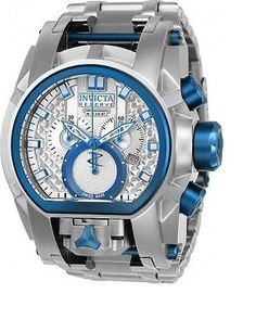 New Mens Invicta 20112 Zeus Bolt MAGNUM Silver Blue Dual Time Watch