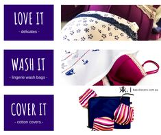 LovE iT - wAsh It - CoVer iT!  Whether you have a special set of lingerie or a few lovely pieces that you cherish, before washing, place your lingerie in a delicates wash bag and help prolong the longevity of your pieces.   Protecting your lingerie in the wash helps prevent snagging, ripping, tearing or catching on other clothes, buckles or hooks.  Kazzi Kovers Delicates Wash Bags are made from premium 100% nylon.  2 sizes available: Regular | Large  Prints: Nautical | Floral | Geometric