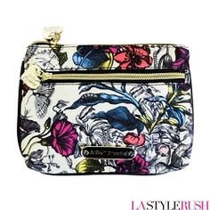 """Shop Betsey Johnson Wild Flower Double Zip Cosmetic Bag at LAStyleRush.com! Embrace your inner wild child and play with any color with you desire with this Wild Flower Double Zip Cosmetic bag by Betsey Johnson! This cosmetic bag features polyester with leather trim, exterior zipper pocket, Betsey Johnson logo plaque in back, signature print-lined interior, and secure top-zip closure.      * Width: 8"""" x Height: 5.5"""" x Depth: 0.5""""      * Polyester with leather trim satchel"""