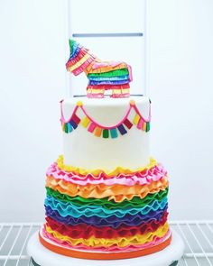 Ideas for birthday cake decorating fondant sweets Mexican Birthday Parties, Mexican Fiesta Party, Fiesta Theme Party, Birthday Party Themes, Birthday Ideas, Cake Birthday, Colorful Birthday Cake, Taco Party, Third Birthday