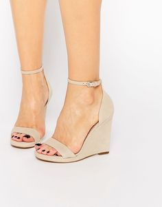 but not in suede.  Image 1 of ALDO Elley Nude Wedge Sandals