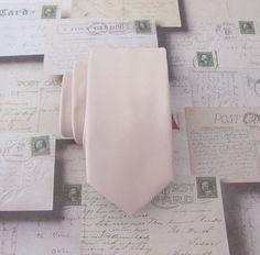 Mens Tie Nude Pink Pale Blush Oatmeal Skinny by TieObsessed