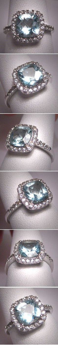 Vintage Aquamarine Wedding Ring W. Sapphire Art Deco 7. $1,250.00, via Etsy.