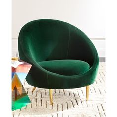 Jonathan Adler Ether Chair (105.265 RUB) ❤ liked on Polyvore featuring home, furniture, chairs, accent chairs, green, jonathan adler, green furniture, jonathan adler furniture, green chair and green accent chair