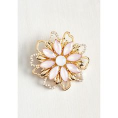 Pastel Fleur the Greater Good Brooch ($15) ❤ liked on Polyvore featuring jewelry, brooches, fake jewelry, artificial jewellery, golden jewelry, rhinestone brooch and rhinestone jewelry