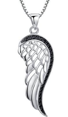 Arco Iris Schmuck Sterling Silber Engel Flügel und Schwarz Zirkonia Anhänger Halskette mit Italienisch Kette Box 45cm
