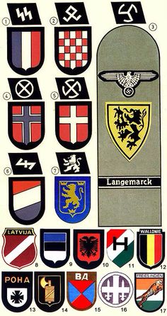 Insignia of the various European countries' citizens that joined with the Nazis. Many hated the Nazi invaders, but many joined with them. They collaborated for any number of reasons, but some were full-on vicious haters.