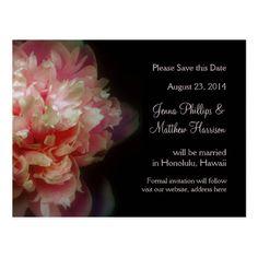 Peony Flowers Wedding Announcement Postcard