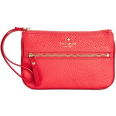 kate spade new york Cobble Hill Bee Wristlet ($78) ❤ liked on Polyvore featuring bags, handbags, clutches, crab red, red clutches, kate spade purses, pebbled leather handbags, kate spade and red purse