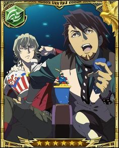 Barnaby and Kotetsu at the movies - Tiger and Bunny <3 (AW, Barnaby cracks me up here, lol! <3)