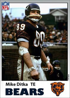 Mike Ditka (TE) - Drafted by the Bears fifth overall in 1961 NFL draft, while the Oilers drafted him eight overall in the AFL draft. Ditka and Tom Flores are the only two people to win an NFL title as a player, asst. coach, and a head coach. Nfl Bears, Bears Football, Nfl Chicago Bears, Sport Football, Football Memes, Football Cards, Football Players, Mike Ditka, Football Photos