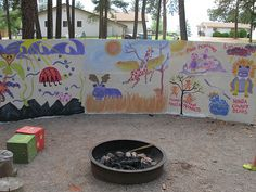 Here is the backdrop at campfire. It gets painted each week to match the theme of the week Easter Seals, Climbing Wall, Giving, Lions, Backdrops, Photos, Pictures, Camping