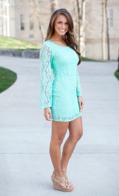 The Pink Lily Boutique - Only In Your Dreams Mint Lace Dress, $42.00 (http://thepinklilyboutique.com/only-in-your-dreams-mint-lace-dress/)