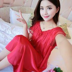 b49a26e357bf Maxi Size 4XL Ladies Sleeveless Sleepwear Satin Nightgowns 2018 Summer  Womens Sexy Lace Sleepdress Sleepshirts Print Nightdress