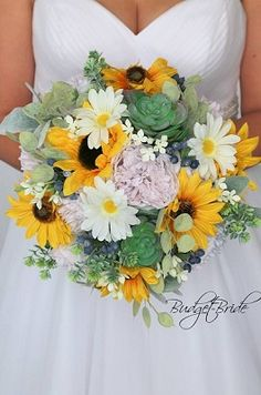 Sunflower and mixed foliage bouquet for spring wedding wedding sunflowers Yellow Wedding Flowers Spring Wedding Bouquets, Yellow Wedding Flowers, Spring Bouquet, Bride Bouquets, Flower Bouquet Wedding, Wedding Sunflowers, Davids Bridal Gowns, Bouquet Toss, May Weddings