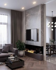 91 comfy living room design ideas with fireplace 5 Home contemporary fireplace Small Space Living Room, Living Room Grey, Home Living Room, Small Living, Cozy Living, Small Spaces, Small Apartments, Living Area, Modern Contemporary Living Room