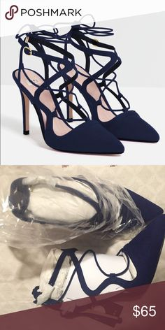 ZARA NAVY POINTED TOE HEEL Brand new with tags, size 38, navy blue with buckle and laces, pointed toe Zara Shoes Heels