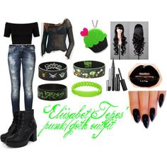Eliisabet Tepes' punk/goth outfit by kaybae-94 on Polyvore featuring Free People, Miss Selfridge, Mavi, Sweet & Co., MARC BY MARC JACOBS and Junk Food Clothing