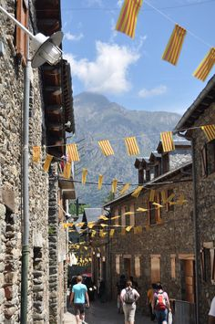 Street view in Queralbs - Street view in Queralbs with the Catalyn flags: Photo of Pyrenees Mountains Small Group Day Trip from Barcelona by Viator user Nicole C Barcelona Day Trips, Barcelona Tours, Pyrenees, Pictures Images, Day Tours, Just Go, Tourism, Spanish, Street View