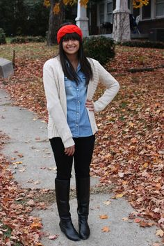 knit headband, neutral sweater, denim button-up, black pants, black boots
