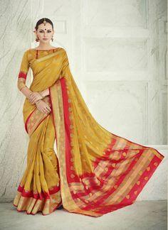 Mustard and Red Banarasi Silk Lace Designer Traditional Sarees