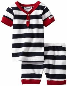 Coccoli Baby-Boys Newborn Summer By The Sea 2 Piece Loungewear Set, Navy, 6 Months - Designed in montreal, canada, coccoli is a high-quality layette and infant collection that is sought out for its designs, durability and excellent fit. - Short Sets - Apparel - $26.13