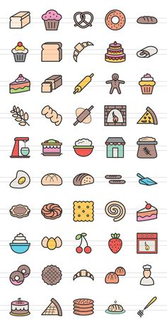 50 Bakery Line Filled Icons by IconBunny on Creative Market - 50 Bakery Line Filled Icons by IconBunny on Creative Market - Cute Small Drawings, Cute Food Drawings, Mini Drawings, Cute Kawaii Drawings, Kawaii Art, Easy Doodle Art, Doodle Art Drawing, Simple Doodles, Cute Doodles