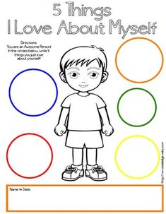 5 Things I Love About Myself Free Printables – Boy & Girl Version – Self Esteem … – Jimmy Huish – art therapy activities About Me Activities, Social Skills Activities, Activities For Boys, Counseling Activities, Art Therapy Activities, Kindergarten Activities, Therapy Ideas, Preschool, Group Counseling