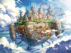 Kemi Neko, Fantasy, Floating, Ship, Flying Ship, City