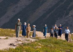 Amish Family on Hidden Lake Trail, GNP