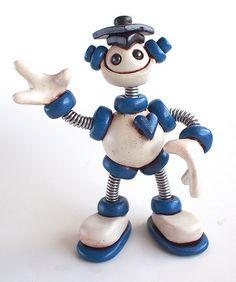Blue Bixy Graduation Grungy Bot Mini Robot Sculpture theawesomerobots.com