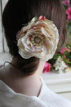 shabby chic bridal hair slide maybe with part of my dress to wear again.