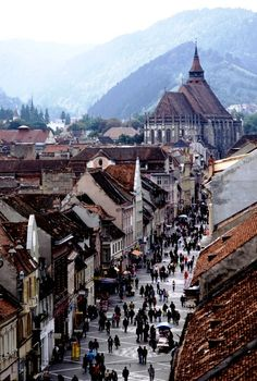 Brasov, Romania. We saw about 15 brides/grooms walking around this city in one day.
